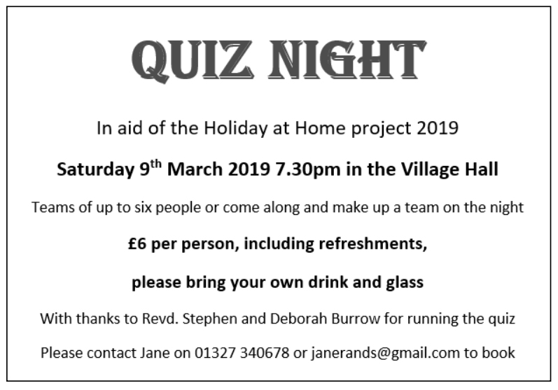 Nether Heyford Quiz March 2019