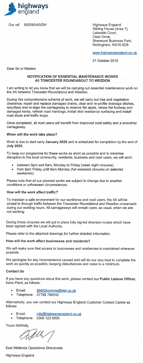 A5 Road Closures 2020 - Letter