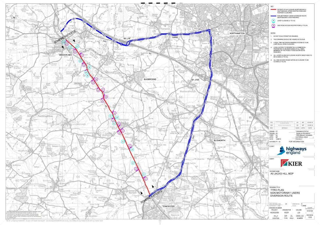 A5 Road Closures 2020- Non motorway diversion drawing