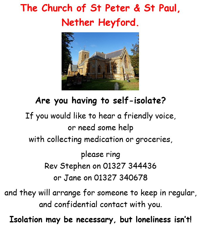 NetherHeyfordParishChurchIsolationApril2020